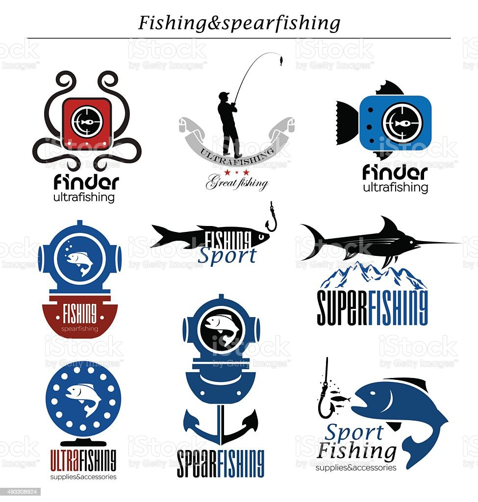 Collection the fishing  logo and emblem. vector art illustration