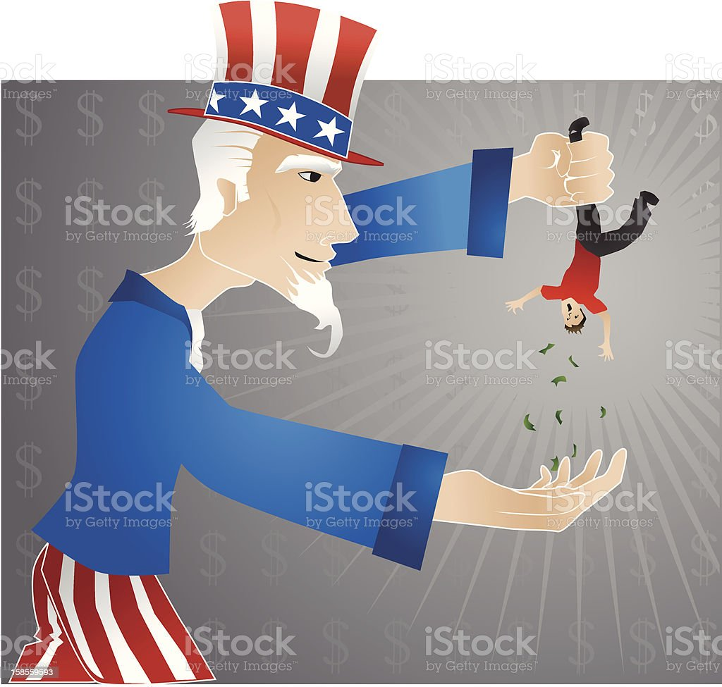 Collection time for Uncle Sam! royalty-free stock vector art