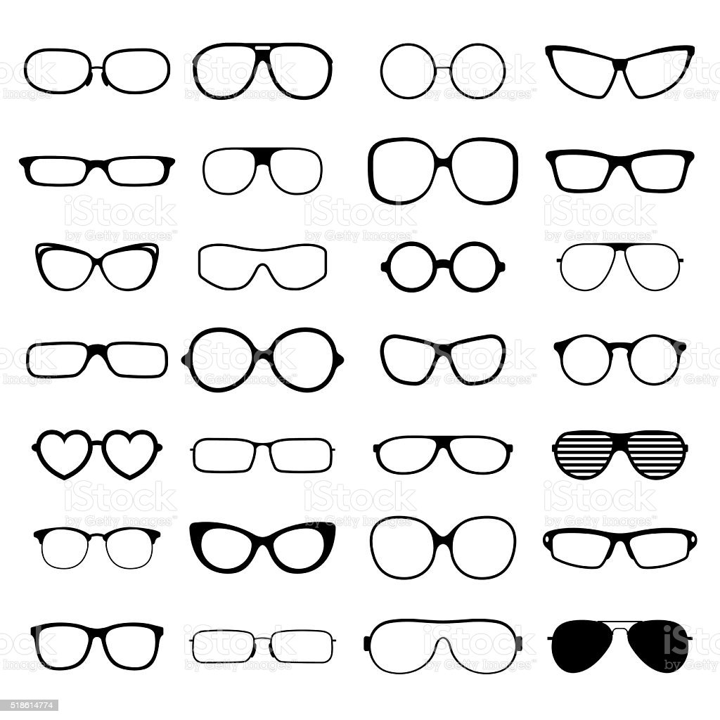 Collection various styles of fashion glasses solid black silhouette vector vector art illustration