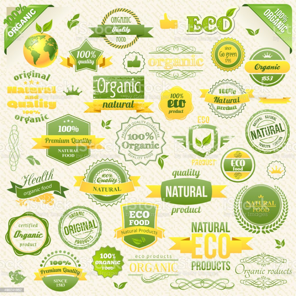 Collection Vector Organic Food, Eco, Bio Labels and Elements. Logo vector art illustration