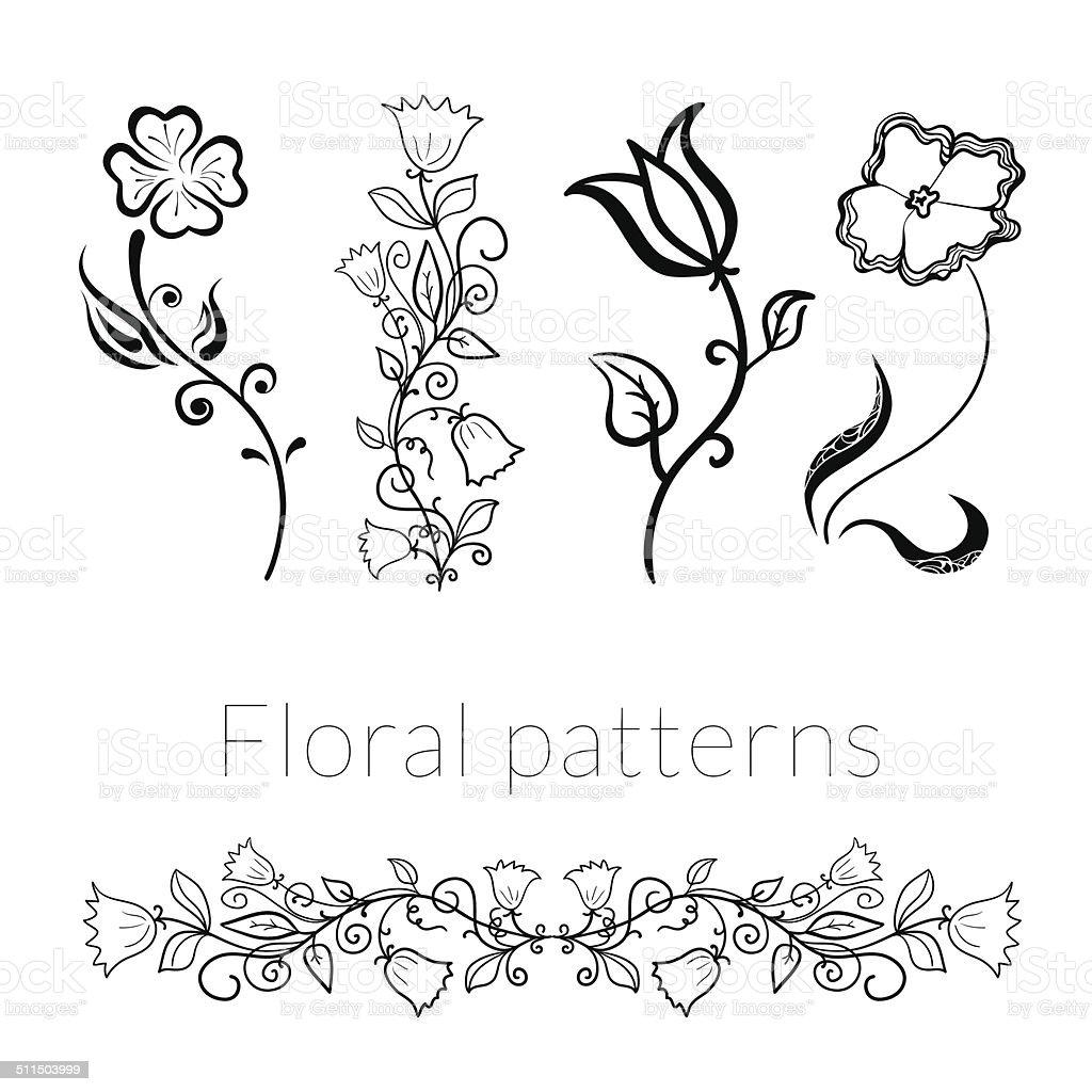 Collection vector stylish black white flowers vector art illustration