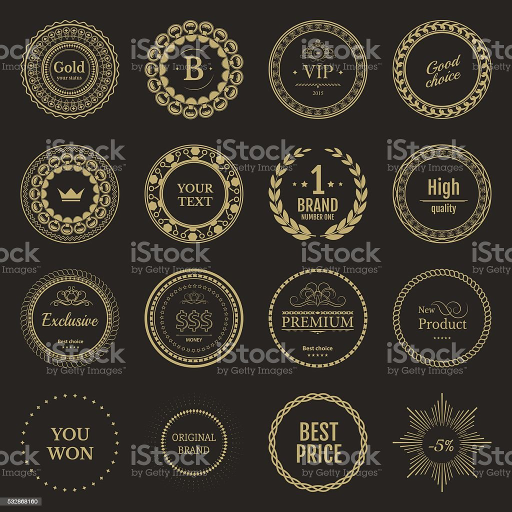 Collection yelow vintage labels for promo seals. vector art illustration
