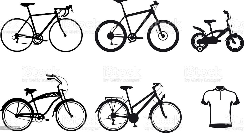 collection-bicycle-silhouette vector art illustration