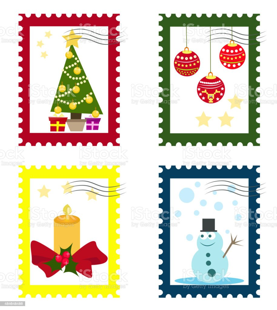 Collections of Christmas stamps vector art illustration