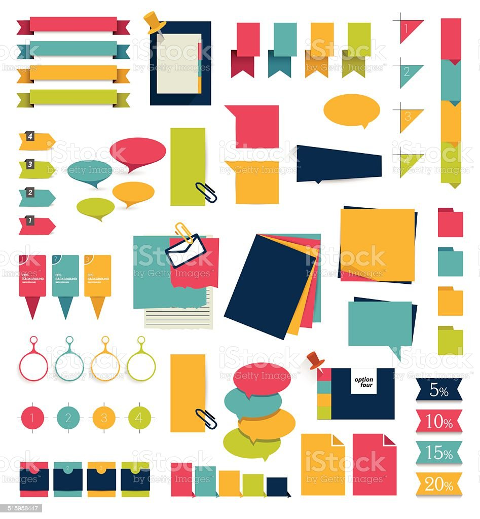 Collections of infographics flat design diagrams. vector art illustration