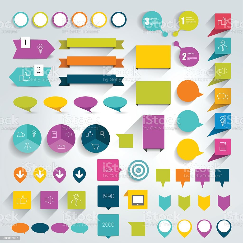 Collections of infographics flat design elements. vector art illustration