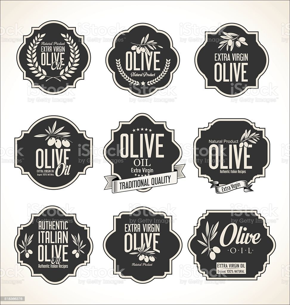 Collections of olive oil labels vector art illustration