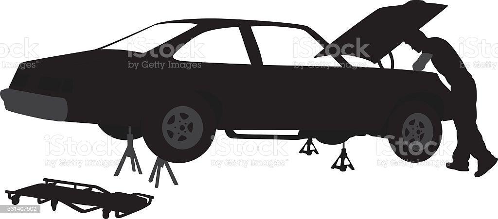 Collector Car Mechanic vector art illustration