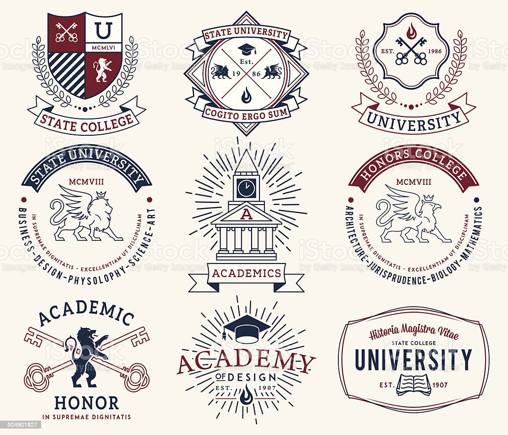 College and University badges 2 colored vector art illustration