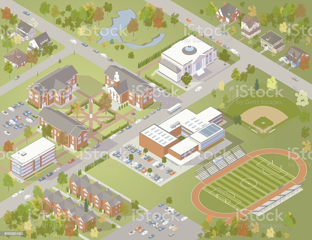College Campus Illustration vector art illustration