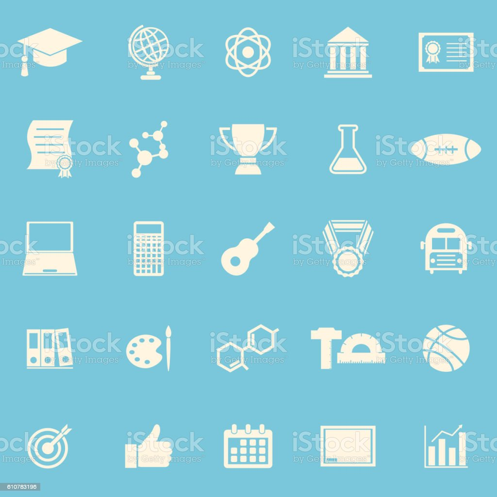 College color icons on blue background vector art illustration