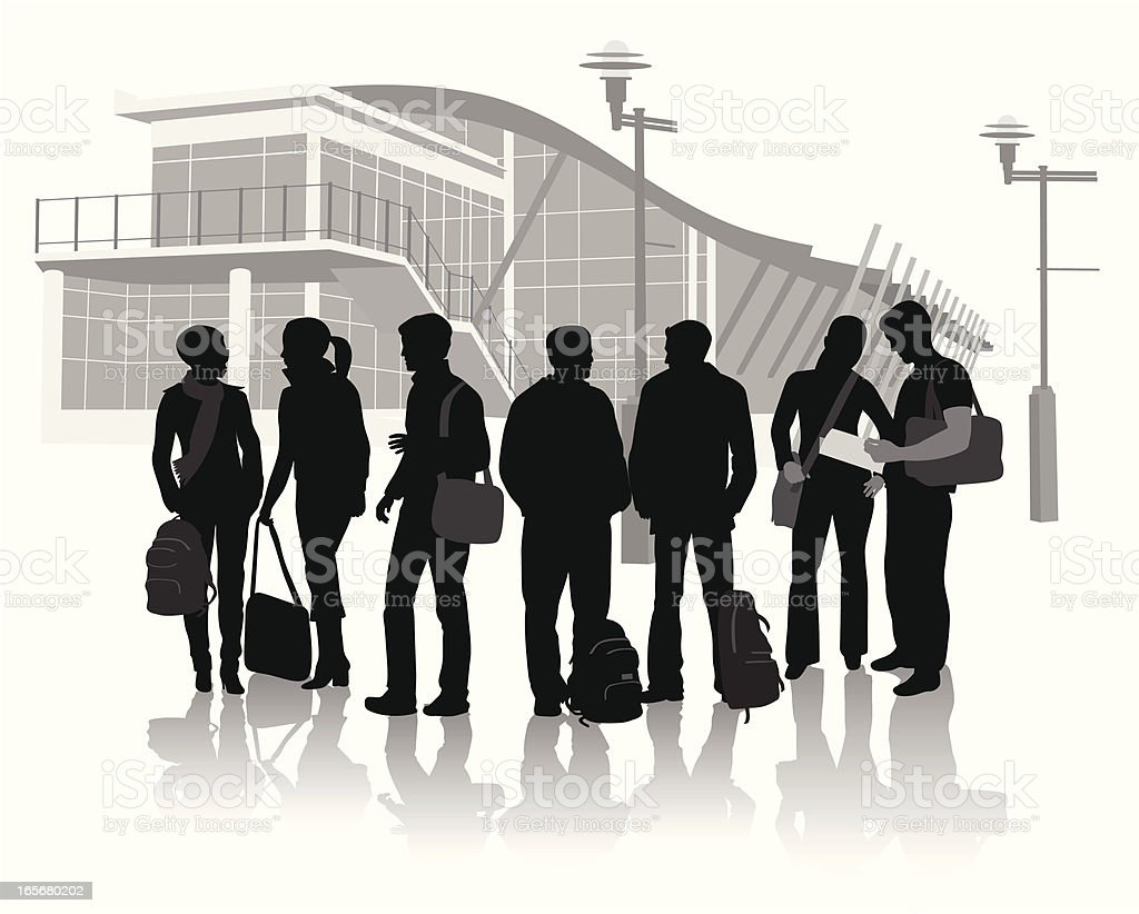 College Crowd Vector Silhouette royalty-free stock vector art