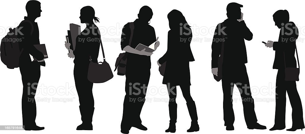College Folks Vector Silhouette vector art illustration