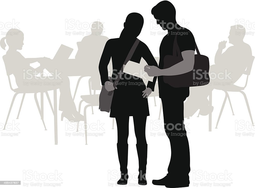 College Friends Vector Silhouette royalty-free stock vector art