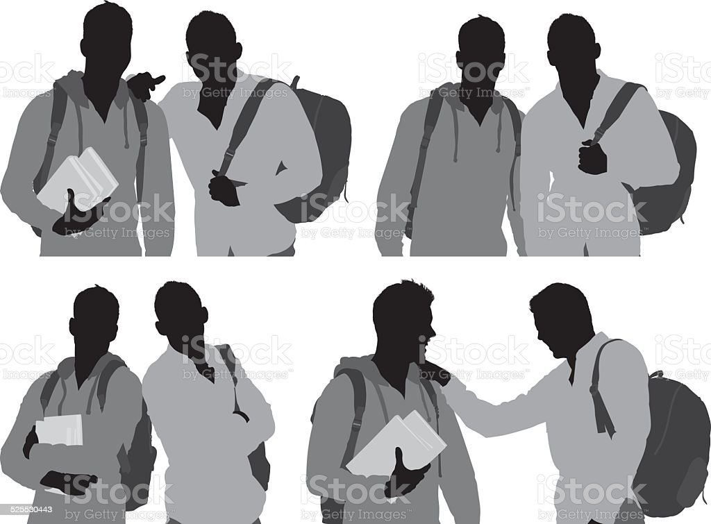 College friends with books and back pack vector art illustration