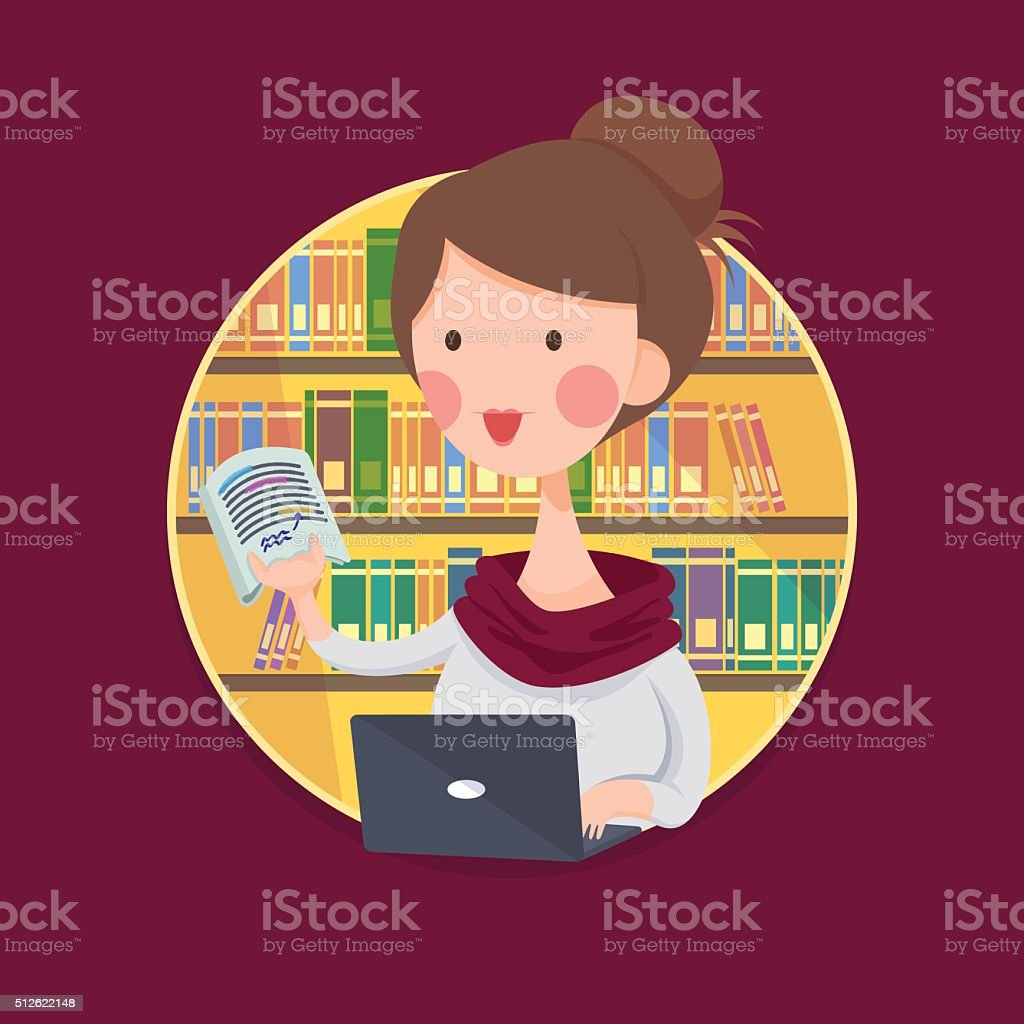College Girl Student Studying in Library vector art illustration