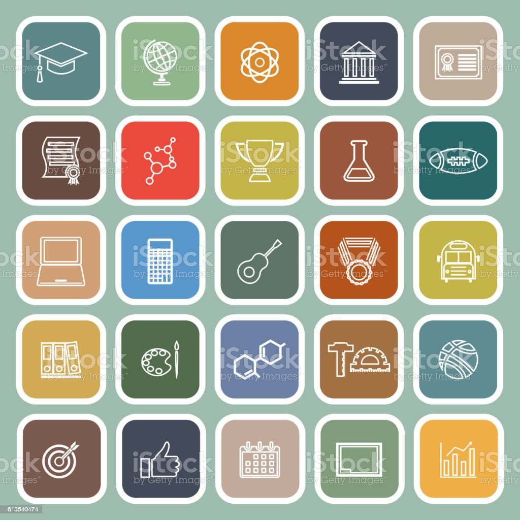 College line flat icons on green background vector art illustration