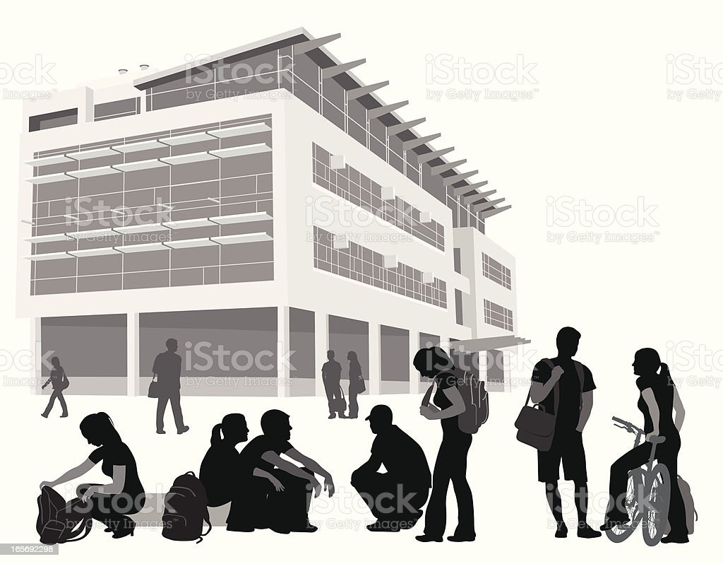College People Vector Silhouette royalty-free stock vector art