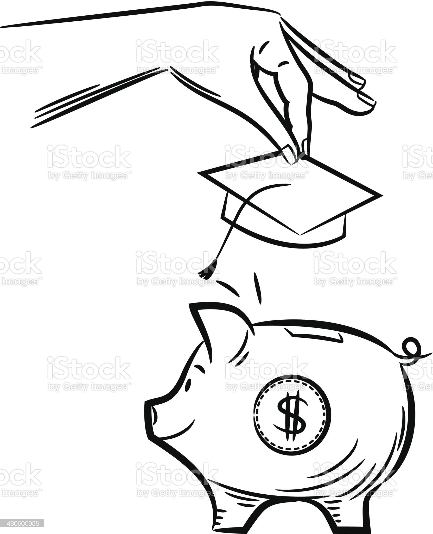 College Savings Piggy Bank royalty-free stock vector art