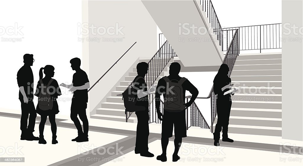 College Stairwell royalty-free stock vector art