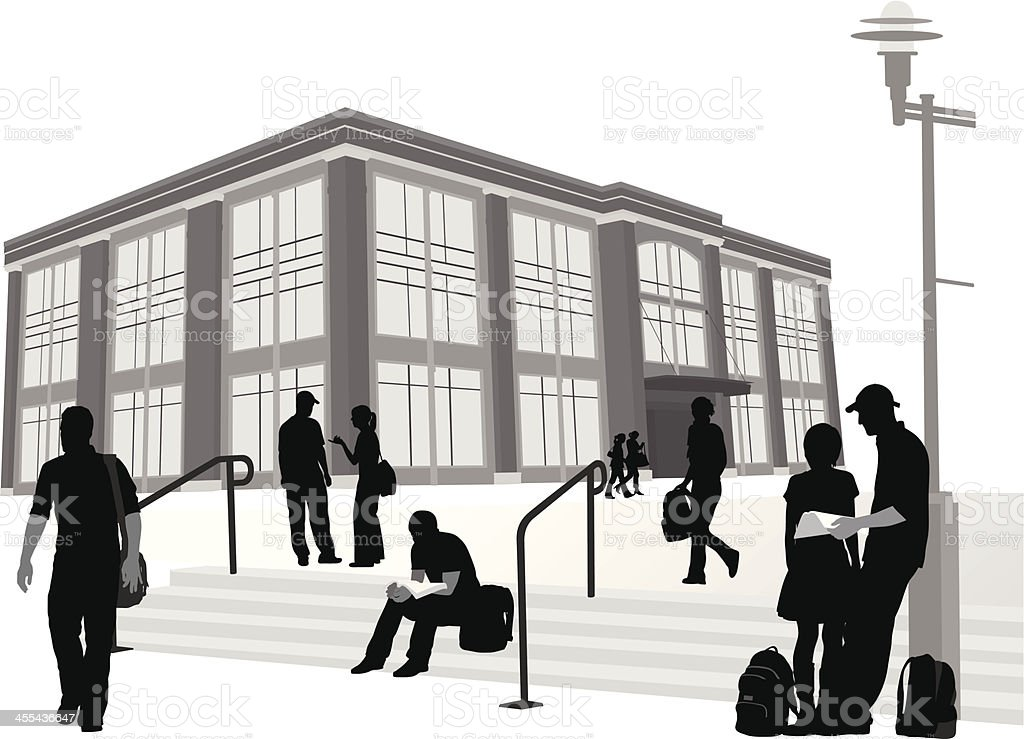 College Steps Vector Silhouette royalty-free stock vector art