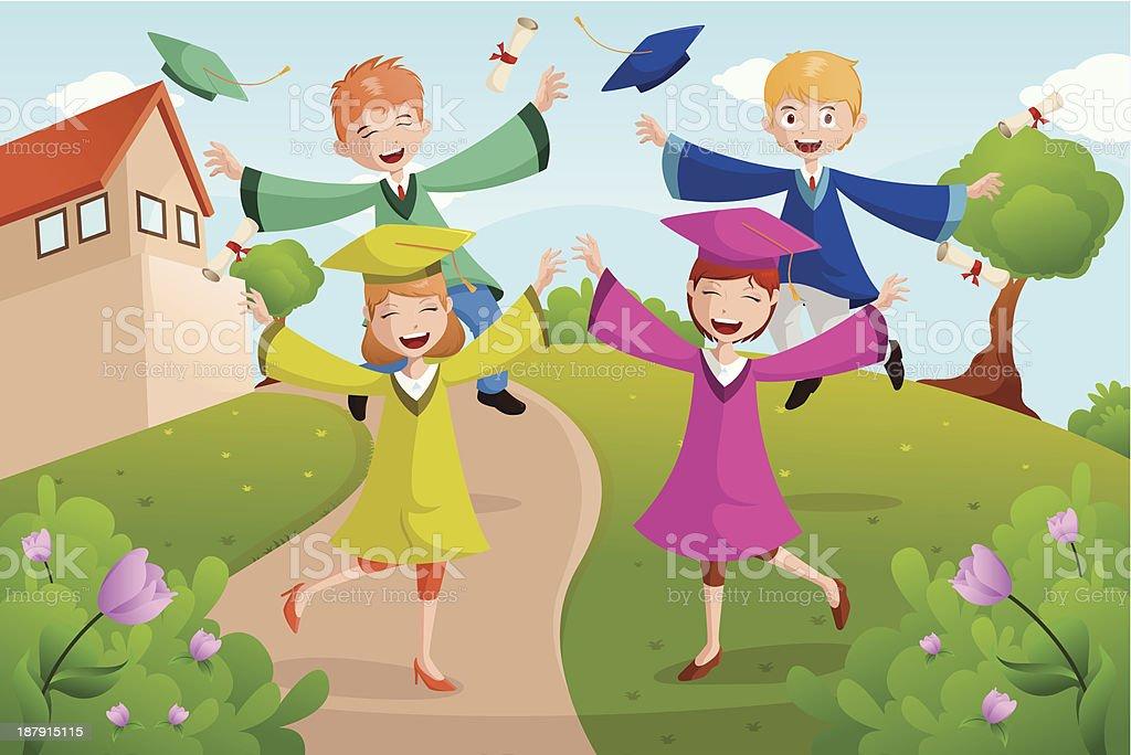 College students celebrating graduation royalty-free stock vector art