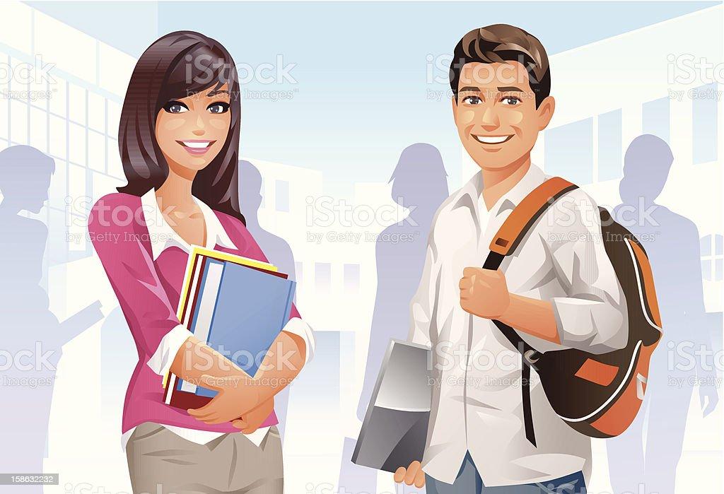 College Students vector art illustration