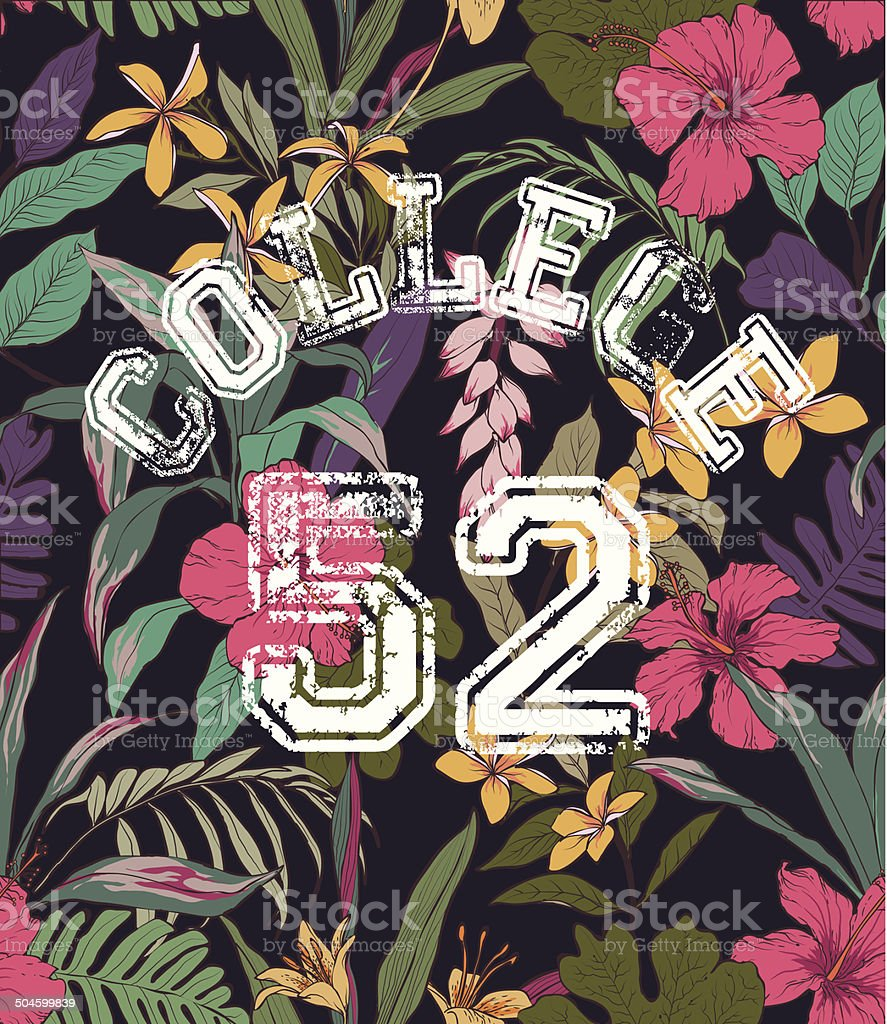 college style sketch of tropical flower vector pattern background vector art illustration