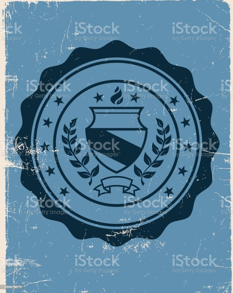Collegiate Seal on Old Notebook royalty-free stock vector art
