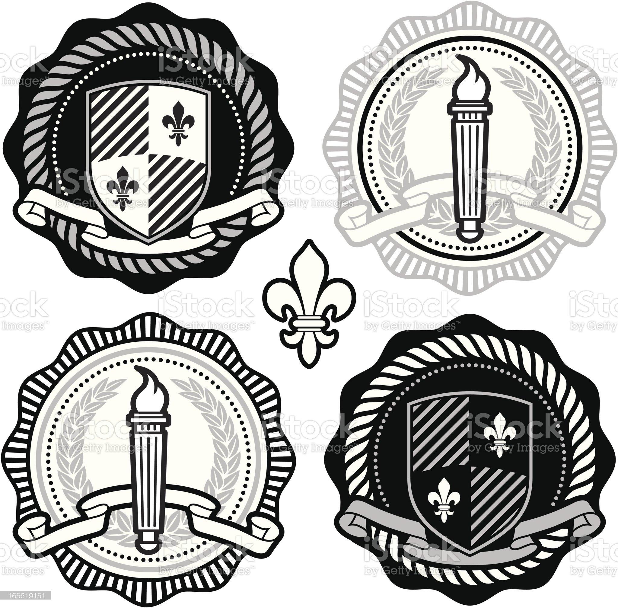 Collegiate seals royalty-free stock vector art