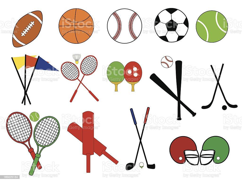 Collegiate Sports Icons ( Vector ) vector art illustration