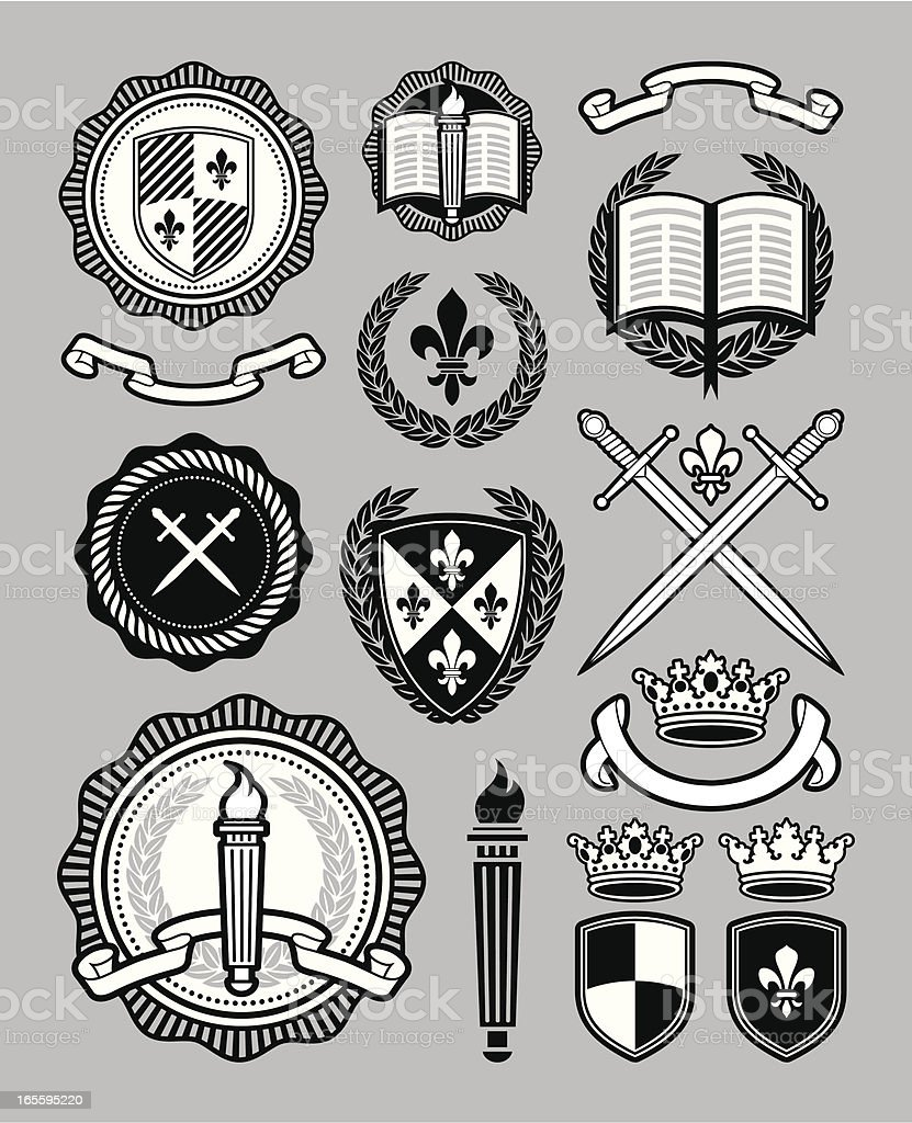 Collegiate style collection vector art illustration