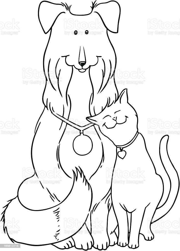 Collie Dog and Cat B&W royalty-free stock vector art