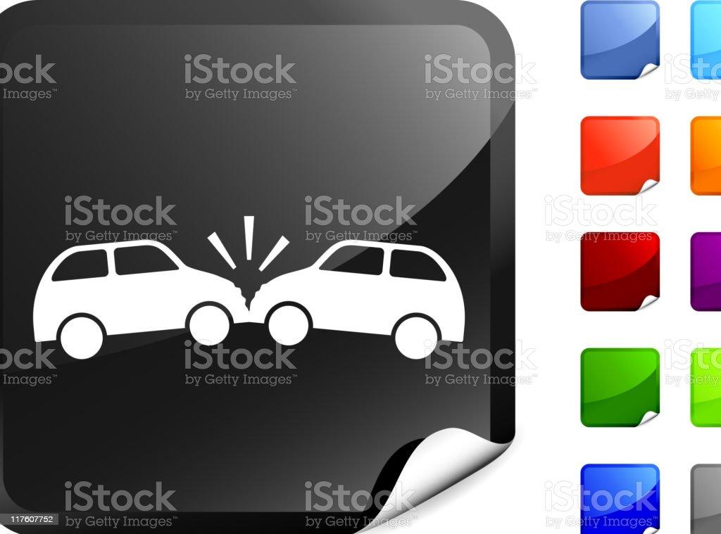 collision icon on sticker vector art illustration