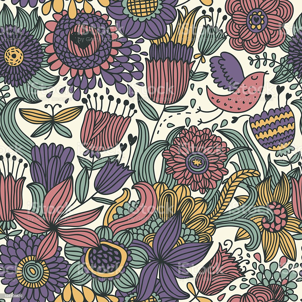 Coloful floral seamless pattern royalty-free stock vector art