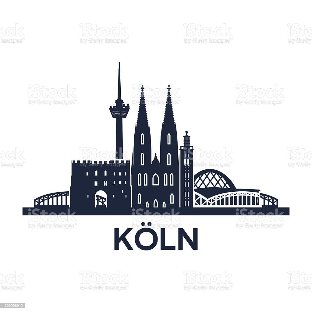 Cologne Skyline Emblem vector art illustration