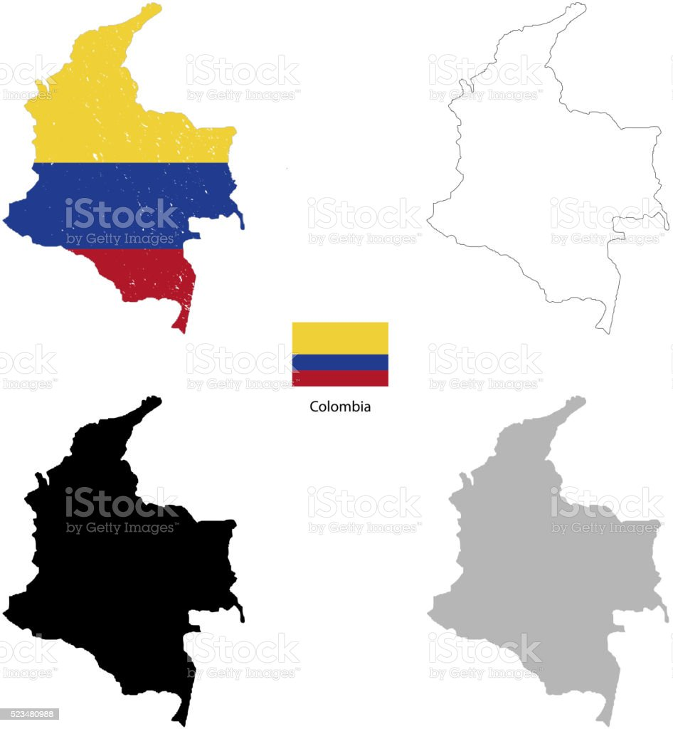 Colombia country black silhouette and with flag on background vector art illustration