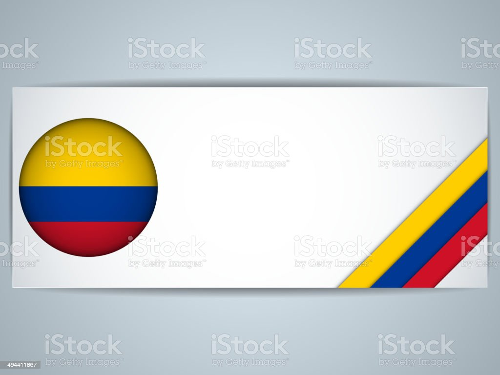 Colombia Country Set of Banners vector art illustration