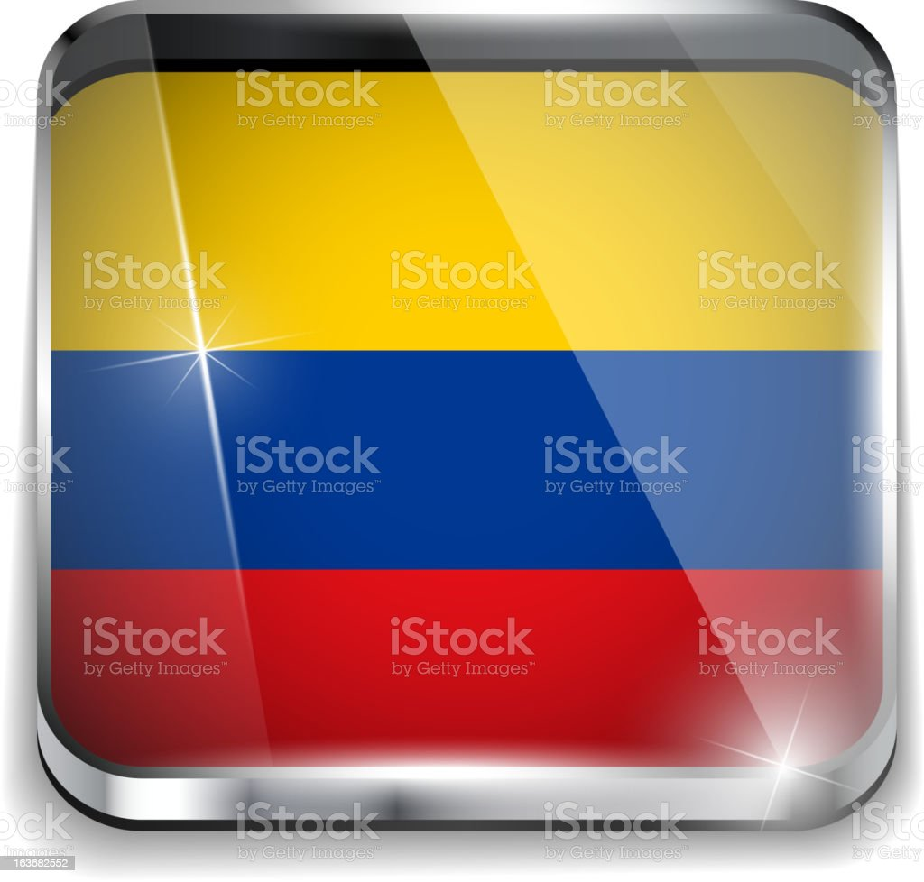 Colombia Flag Smartphone Application Square Buttons vector art illustration