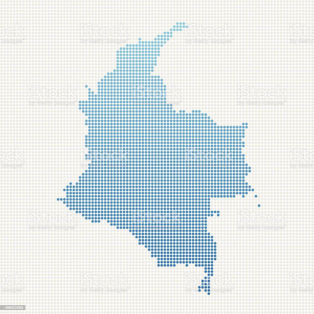 Colombia Map Blue Dot Pattern vector art illustration