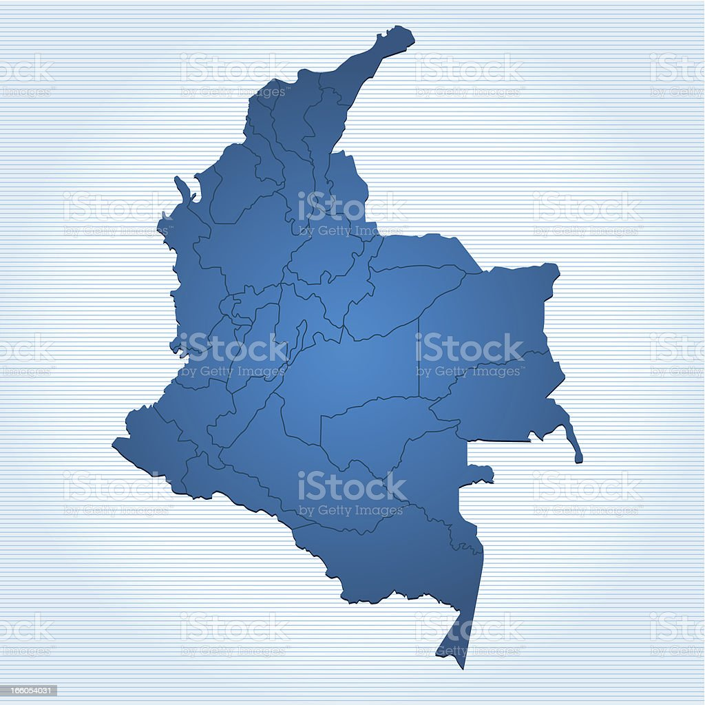 Colombia map blue vector art illustration