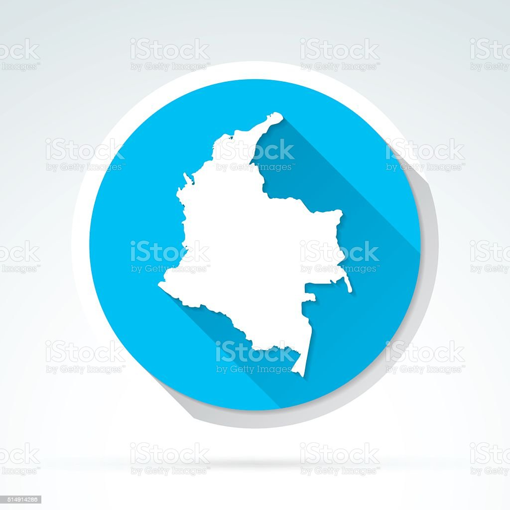 Colombia map icon, Flat Design, Long Shadow vector art illustration
