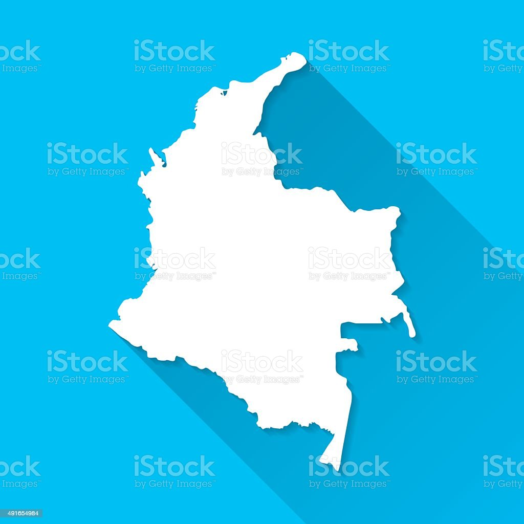 Colombia Map on Blue Background, Long Shadow, Flat Design vector art illustration
