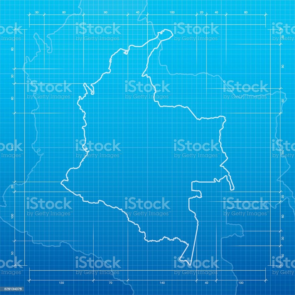 Colombia map on blueprint background vector art illustration