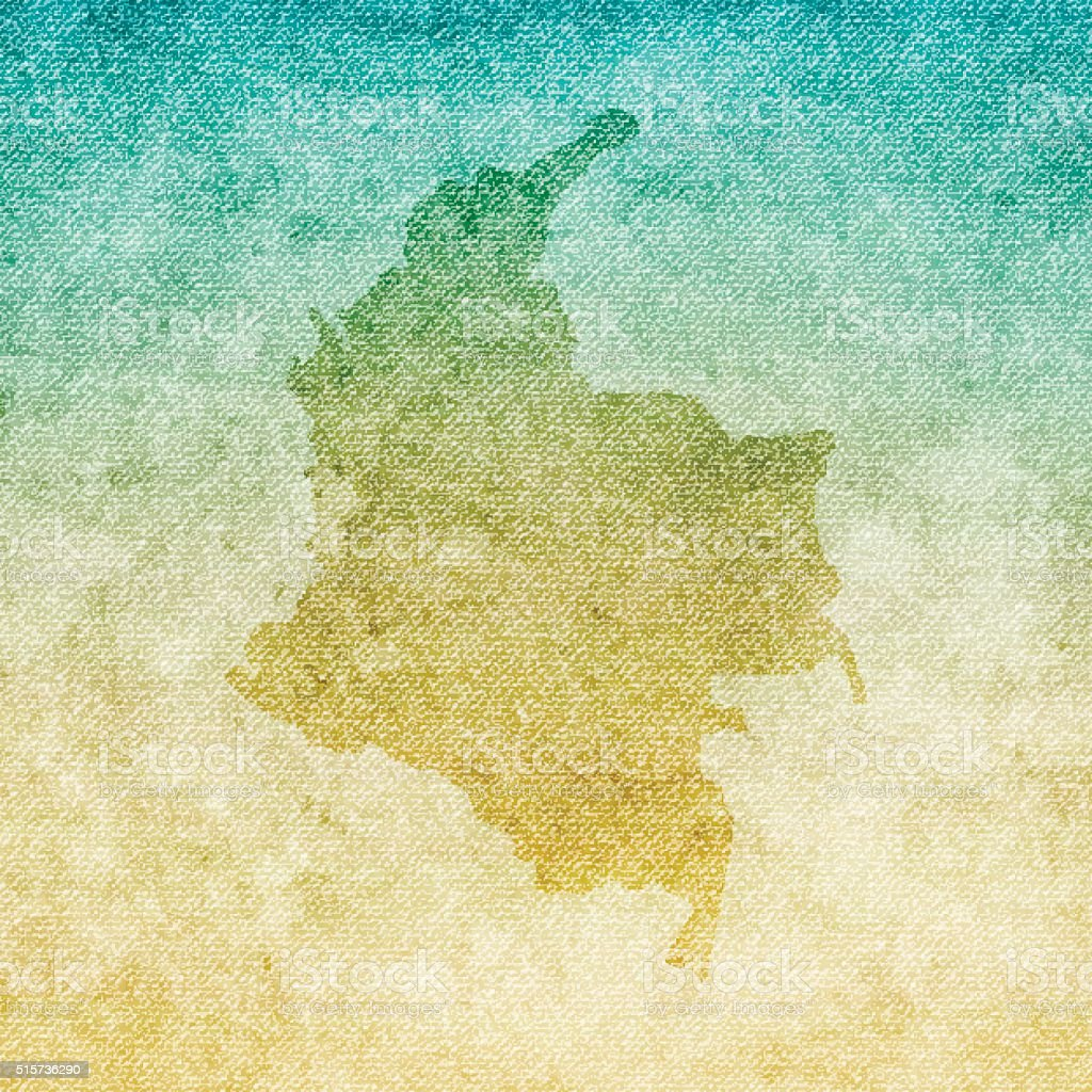 Colombia Map on grunge Canvas Background vector art illustration