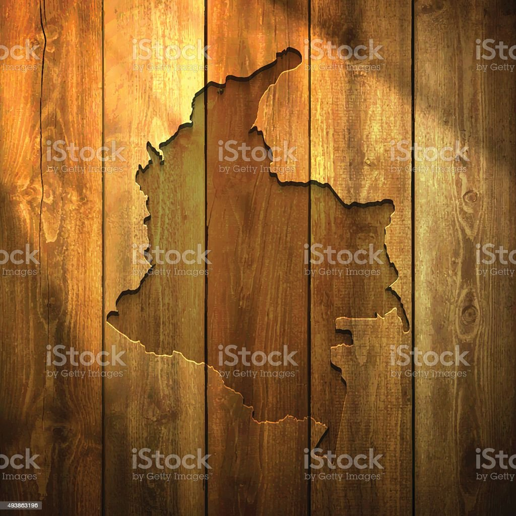 Colombia Map on lit Wooden Background vector art illustration