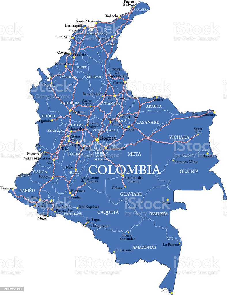 Colombia map vector art illustration