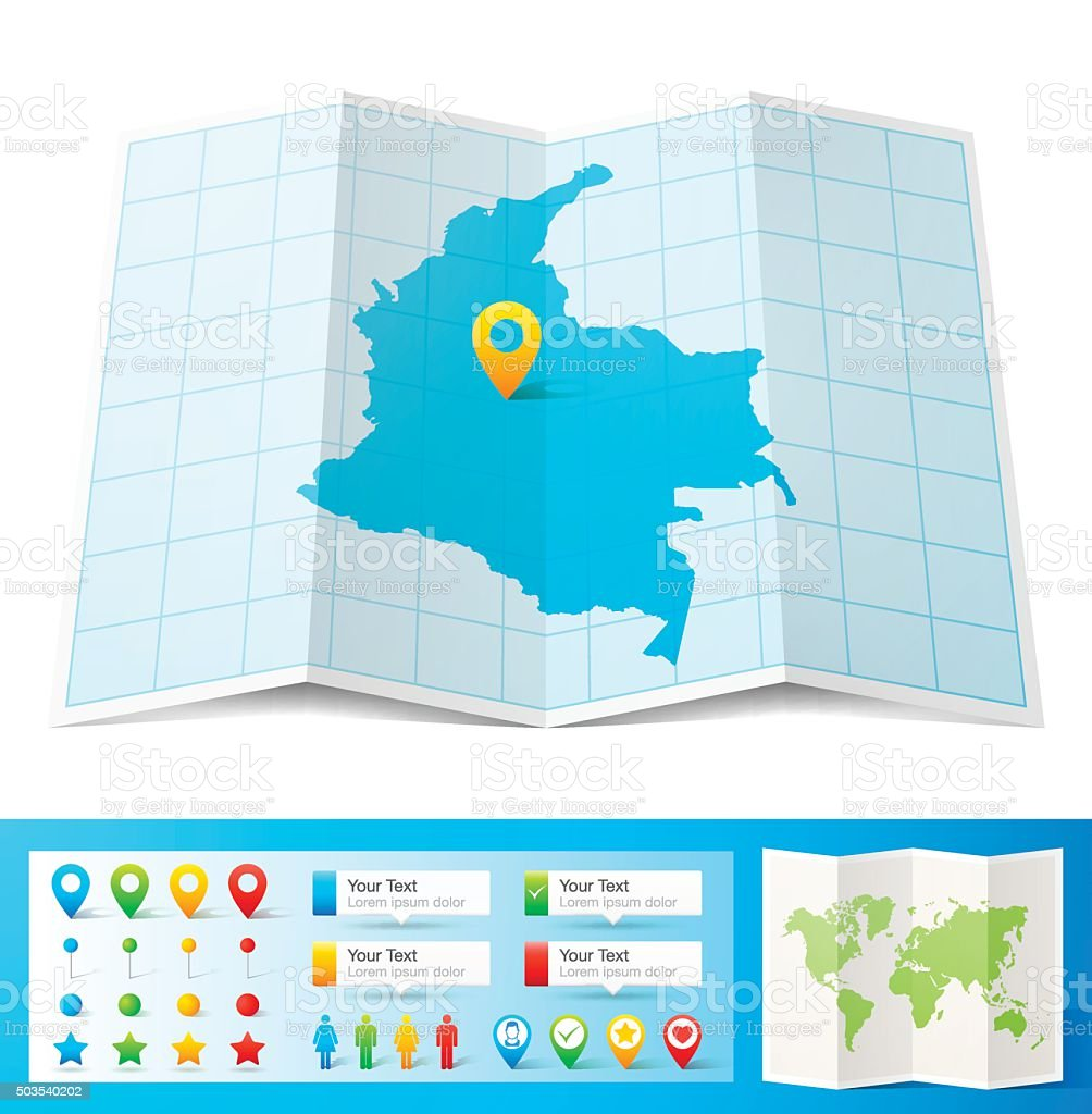 Colombia Map with location pins isolated on white Background vector art illustration
