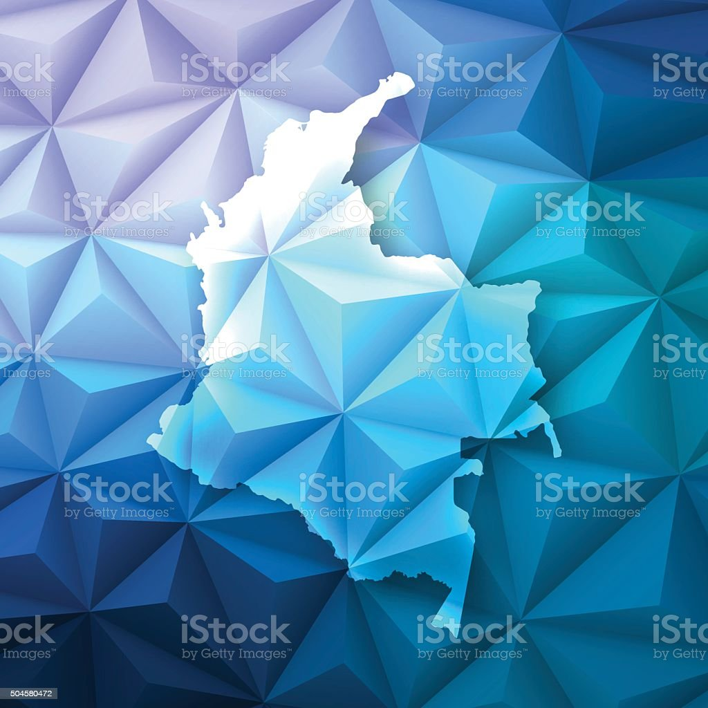 Colombia on Abstract Polygonal Background - Low Poly, Geometric vector art illustration
