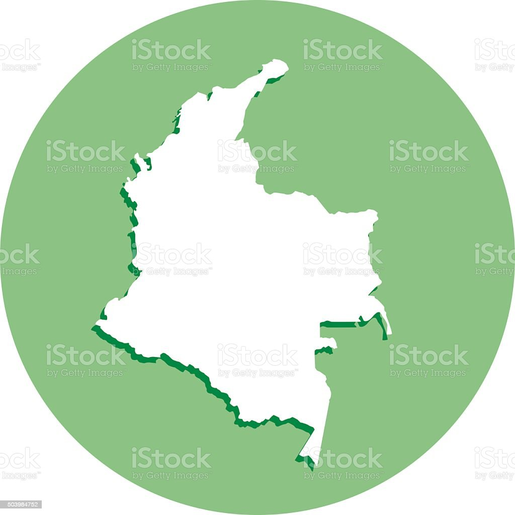 Colombia Round Map Icon vector art illustration
